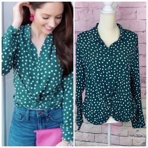 Abercrombie & Fitch twist front polka dot blouse